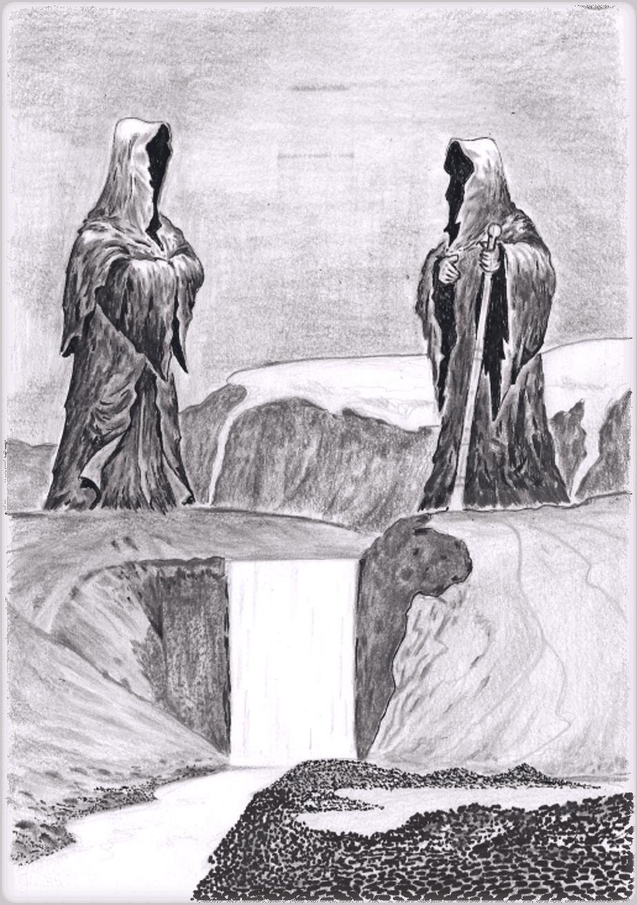 Þrasi og Loðmundur. Teikning eftir J. Laczkowski