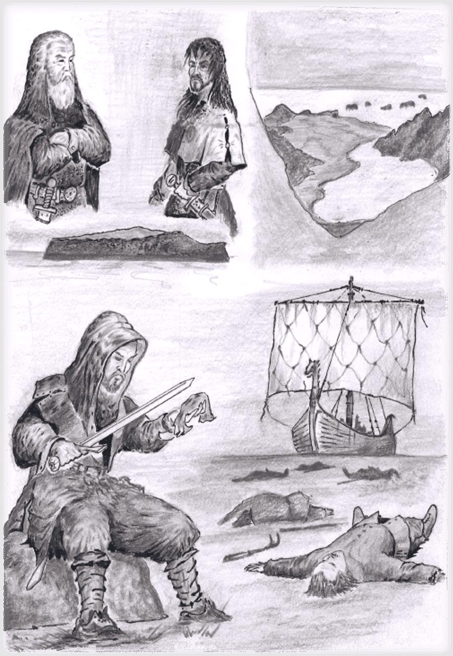 Hjörleifur og Ingólfur. Teikning eftir J. Laczkowski